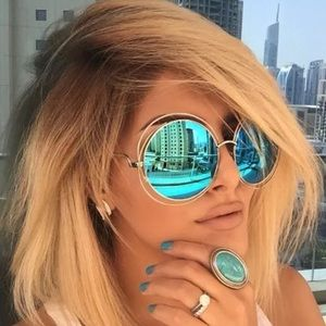 Accessories - Round oversized mirror halo sunglasses